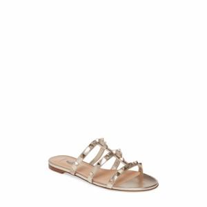 ヴァレンティノ VALENTINO GARAVANI レディース サンダル・ミュール シューズ・靴 Rockstud Slide Sandal Skin Metallic Leather