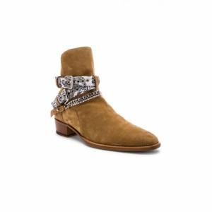 アミリ Amiri メンズ ブーツ シューズ・靴 White Bandana Buckle Boot Tan