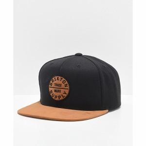 ブリクストン BRIXTON メンズ キャップ スナップバック 帽子 Brixton Oath III Black and Copper Snapback Hat Black