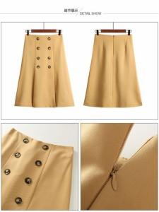 【0146】レトロボタンハイウエストひざ丈スカート☆プリーツがポイント♪