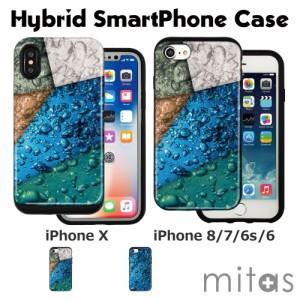 iPhoneX TPU素材 PC素材 ハイブリッドケース iPhone8 iPhone7 iPhone6 [水 海 ガラス]