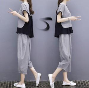 セットアップ スーツパンツ ワイドパンツ ブラウス ガウチョパンツ 大きいサイズ 上下セット  入園式  通勤 OL 春 フォーマル 夏