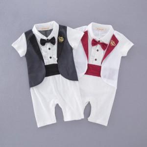 b52e623266bfa ベビー 赤ちゃん 男の子 セットアップ タキシード フォーマル 紳士 長袖 ロンパース カバーオール ズボン風 結婚式 お誕生日 お祝い  の通販はWowma!