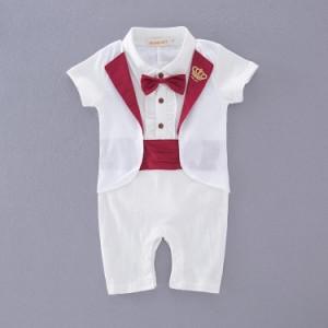 98b28c1771475 ベビー 赤ちゃん 男の子 セットアップ タキシード フォーマル 紳士 長袖 ロンパース カバーオール ズボン風 結婚式 お誕生日 お祝い