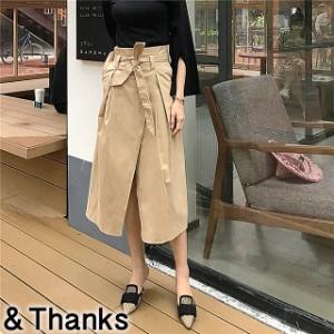 春コーデ ウエストリボンラップスカート 2カラー2サイズ