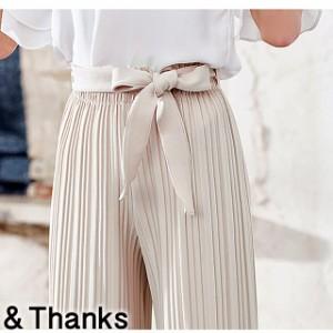 春コーデ リボン付プリーツパンツ 1カラー1サイズ