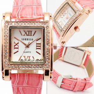 正規品SORRISOソリッソベゼルにラインストーンを散りばめたスクエアケース腕時計SRHI6レディー
