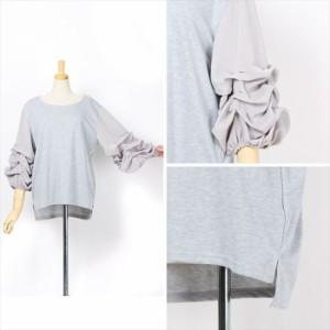 ボリュームタックスリーブ7分袖カットソーレディーストップスバルーン袖Tシャツ