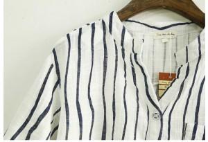 綿麻シャツ レディース ブラウス 半袖シャツ ストライプ柄 トップス Vネック  カジュアルシャツ ゆったり ブラウス 夏