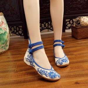 c86e2ba34c210 履きやすいチャイナ靴美脚チャイナシューズ中華布靴民族風花刺繍スニーカー朝練太極