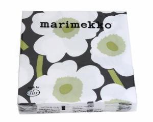 マリメッコ ペーパーナプキン ウニッコ ブラック/ホワイト 33x33cm 20枚入り marimekko UNIKKO 【紙ナ