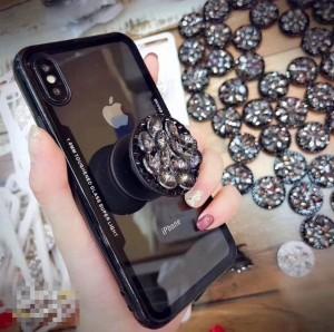 e64d9ff4e4 iPhone7/ 8 ブラック フレームライン グリップ iPhone スマホケース クリア ビジュー リング付き スケルトン