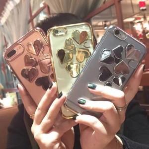 c596edcd37 【iPhone7 ゴールド】ソフトケース カバー キラキラ 3Dハート iPhone アイホン スマホ 全3色展開