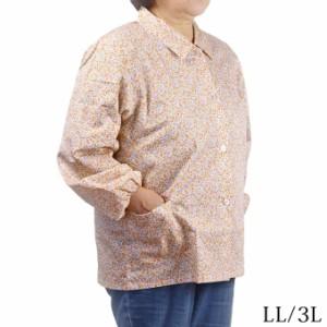 長袖ブラウス 花柄 綿100% LL/3L 日本製 作業ブラウス 園芸 農家 シニア 春夏秋 ミセス ハイミセス 婦人服 60代 70代 80代 90代 高齢者