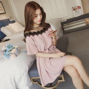 【送料無料】  ワンピース レディース 膝丈 ワンピース 春  シフォンワンピース 韓国風 体型カバー