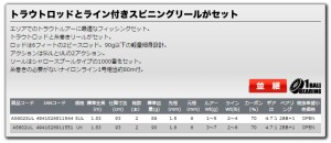 大阪漁具  エリアセット トラウトロッド+リール 糸付き 1.83m  AS602SUL  OGK◆