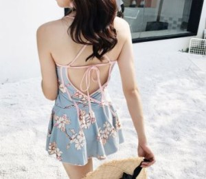 ワンピース水着・ワンピース型 ビスチェ風 花柄 体型カバー フレア スカート  V216