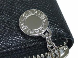 8dad02167592 ブルガリ 財布 20886 BVLGARI ラウンドファスナー長財布 ブルガリボタン グレインレザー ブラック シルバー金具