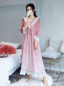 レディース 家庭服  長袖 ゆとり 大きいサイズ パジャマ レジャー 大人ルームウェア おしゃれ かわいい 秋冬 ネグリジェ89
