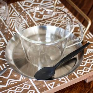 コーヒーカップ&ソーサー 耐熱ガラス ステンレス製受け皿 220ml 電子レンジOK ガラスのみ 食器 ティーカップ コップ マ