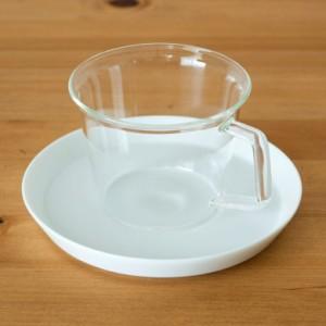 コーヒーカップ&ソーサー 耐熱ガラス 磁器製受け皿 220ml 電子レンジOK ガラスのみ 食器 ティーカップ コップ マグカップ ガラス製