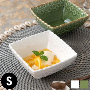 皿 椀 プレート 正方形 プルメリアモチーフ Sサイズ 深角皿 食器 スクエア ボウル 陶器皿 和食器 おしゃれ キッチン雑貨 アジアン