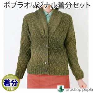 【秋冬】斜め格子模様の衿つきカーディガン【中級者】【編み物キット】