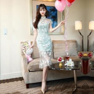 チャイナドレス ロング チャイナ服 ワンピース 半袖 ドレス シルエット パーティードレス ロングドレス 大きいサ