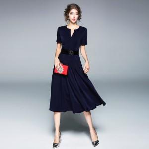 2018春半袖ディープv襟気質ロングウエストショー薄いベルト付き単語スカート