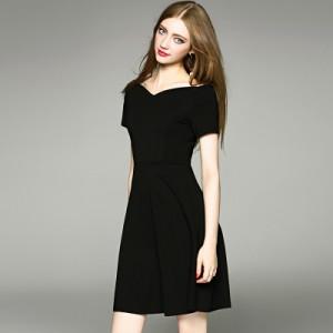 2018春ファッションヘップバーンレトロ風黒スリムドレスパーティードレスブラックドレス