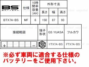 充電発送 BSバッテリー ヤマハ マジェスティ125 5CA用 BTX7A-BS(YTX7A-BS,FTX7A-BS互換品)