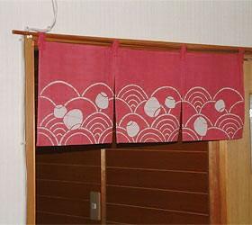 本ろうけつ染 波のれん(暖簾) 丈30cm 緑・ローズ・紺 綿100% 国産 贈り物 お祝い 店舗 癒やし