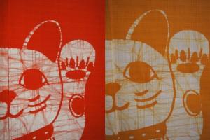 本ろうけつ染 福を招く 招き猫のれん(暖簾) 丈150cm 青・カラシなど5色 綿100% 国産 贈り物 お祝い 店舗 商売繁盛