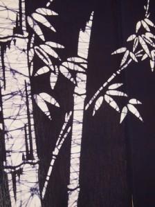 本ろうけつ染 竹のれん(暖簾) 丈90cm 紺 綿100% 国産 贈り物 お祝い 店舗 癒やし