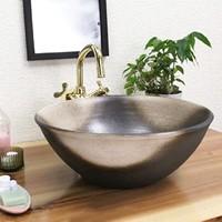 信楽焼 白黒ぼかし(中型)手洗い鉢 飽きのこない洗面鉢 お洒落な洗面器 手洗器 手洗鉢 洗面ボー