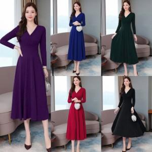 ドレス ワンピース ひざ下丈 ミモレ丈 大きいサイズ 2-3XL 紫 青 緑 赤 黒 #3130