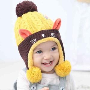 0a3c7579e43c4 ネコ耳 ニット 帽子 ベビー キッズ 裏ボア サル ニット帽子 子供帽子 キッズ帽子 キャップ. myk0220