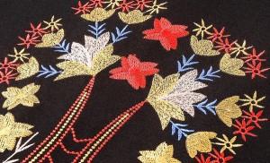 花刺繍 ショート丈 Aライン ワンピース 七分丈 上品 大人きれい ハイウエスト ラウンドネック