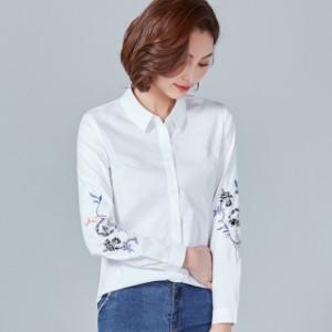 11f9ccad67aa5 夏新作 夏服 トップス ブラウス シャツ カットソー 大きいサイズ 刺繍 長袖 春シャツ コットンシャツ 上品