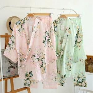 806ef3dd0a5a3b 送料無料パジャマ甚平レディースファッションルームウェアじんべい甚平花柄コットン通気長袖女性