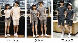 上下セット カップルお揃いtシャツ カップルペアルック カップルtシャツ ペアシャツ ズボン  夏半袖 メンズ シャツ