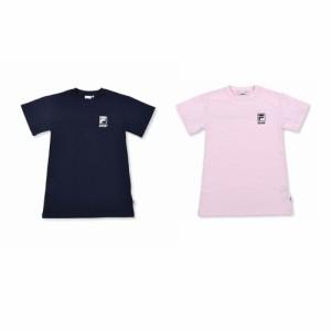 【20%OFF 2021夏物 ジュニア 子供 女の子】 ZIDDY(ジディー) FILA × ZIDDY ロゴライン ビッグTシャツ ワンピース