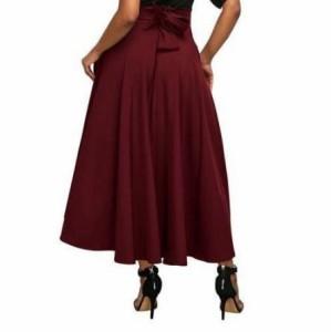 フレア ロング スカート バックリボン 3色 4サイズ