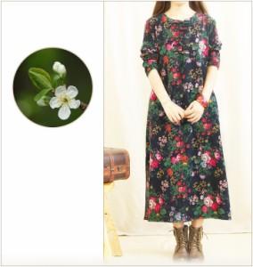 ワンピース ロング ドレス 七分袖 花柄