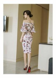 ドレス イブニングドレス ワンピース 膝丈ワンピース ハイウエスト 花柄 オフショルダー 妖艶 セクシー 清楚 キャバ嬢