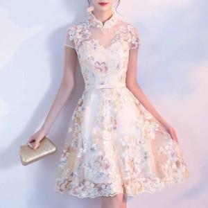 ワンピースドレス パーティードレス 春夏 結婚式 大きいサイズ ひざ丈 半袖 Xライン チュール シフォン レース 花柄 刺繍 20代