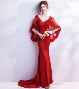 b4e828cb88014 ロングドレス 赤 袖あり 演奏会 スレンダーライン パーティードレス ワンピースドレス ワンピース ドレスワンピ お呼ばれドレス  イブニンの通販はWowma!