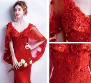 b4ad874f3fb2a ロングドレス 赤 袖あり 演奏会 スレンダーライン パーティードレス ワンピースドレス ワンピース ドレスワンピ お呼ばれドレス イブニン