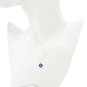 ブルーサファイアペンダント(フラワーモチーフ/ダイヤ1石/K18WG)