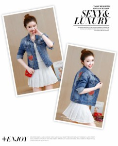 デニムジャケット 韓国 オルチャン花柄 長袖 刺繍 デニム ジャケット ボタン 可愛い バック 秋冬 デート